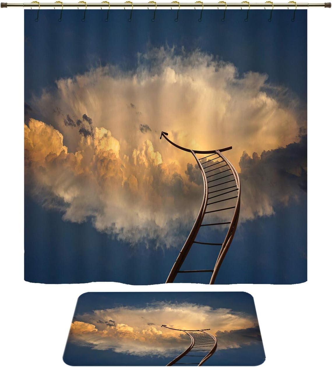 54x72 inch//16x24 inch Color Waterproof Shower Curtain Bath Rug Set Beyond Cloud Sky Ladder Ladder of Success Rise Climb Bath Curtain Doormat Set for Bathroom Contain 12 Gold Shower Curtain Hooks