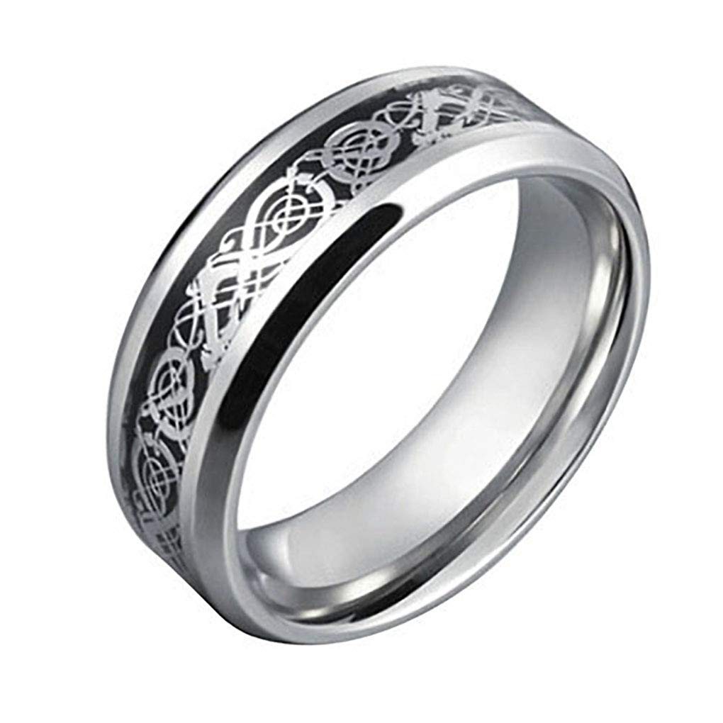 super1798 Unisex Dragon Pattern Titanium Steel Wedding Band Ring Valentine's Gift Jewelry - Black US 12