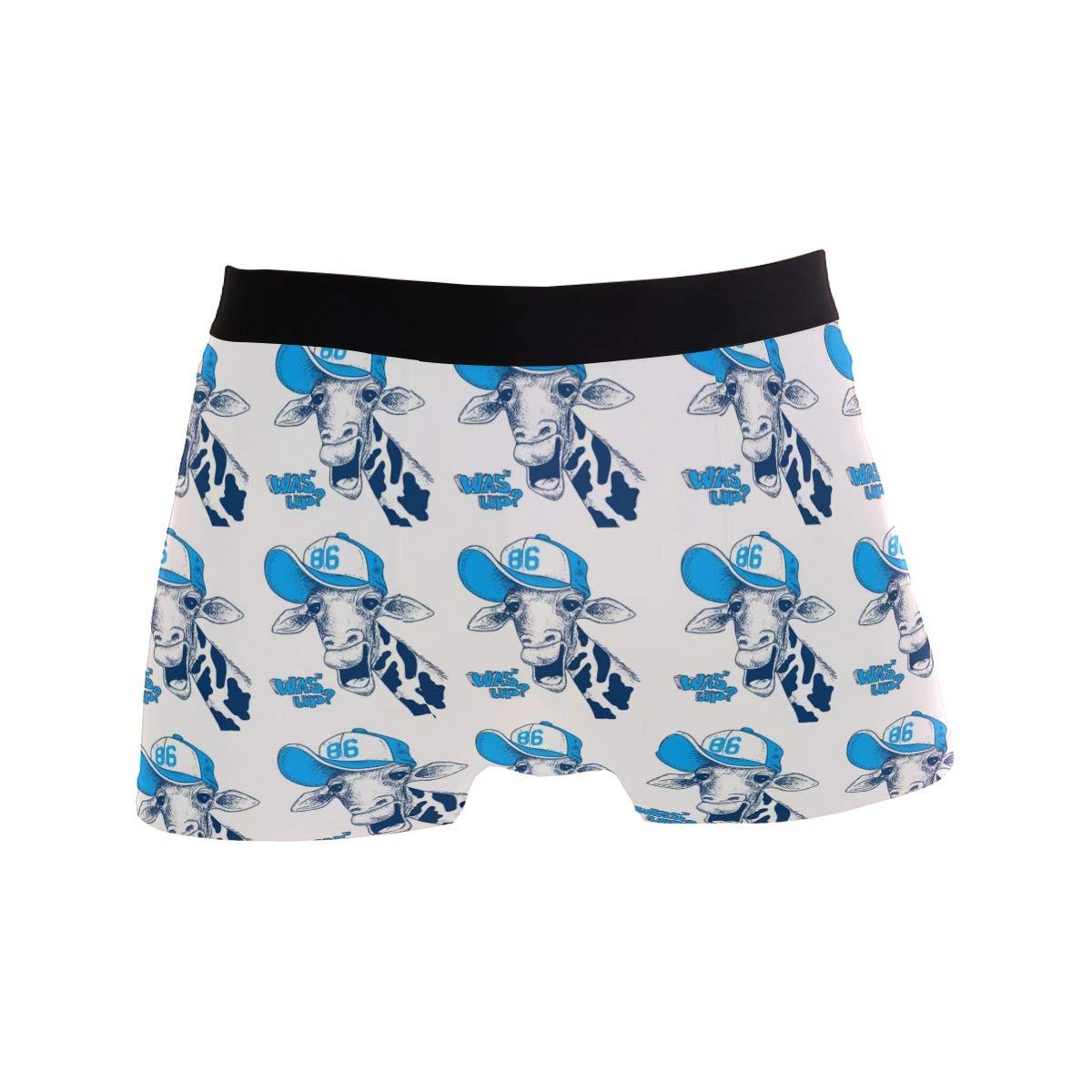 Charlley Lee Mens Soft Breathable Giraffe Wearing Hat Underwear Boxer Briefs