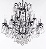 "Wrought Iron Crystal Chandelier Lighting Trimmed with Swarovski Crystal Good for Dining Room, Foyer, Entryway, Family Room, Bedroom, Living Room and More! H 36"" W 36"" 15 Lights"