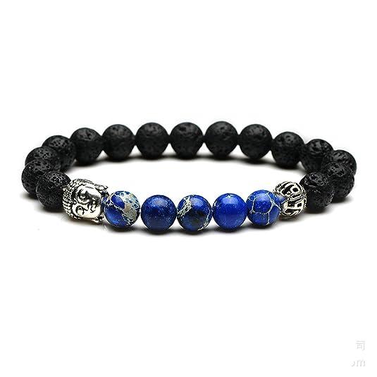 Lava Armband Bracelet Perlenarmband Buddhakopf silber 8mm