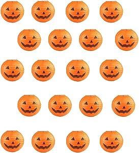20 PCS Halloween Pumpkin Paper Lantern for Halloween Party Parties Garden Decoration, 8 Inches (Orange)