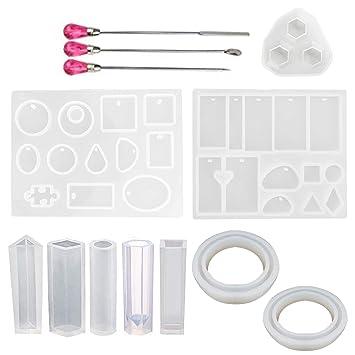 10PCS Moldes de Resina de Silicona de Estilo Diferente con 3PCS Agitadores de Color Aleatorios para Llaveros Pendientes Collares Colgantes DIY Fabricación ...