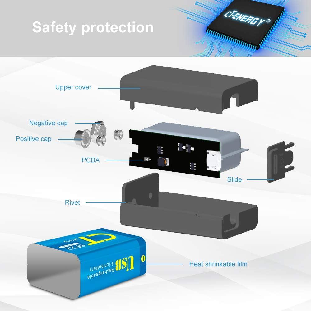 Household Batteries USB 9V Rechargeable Batteries,2 Packs 400mAh 9 ...