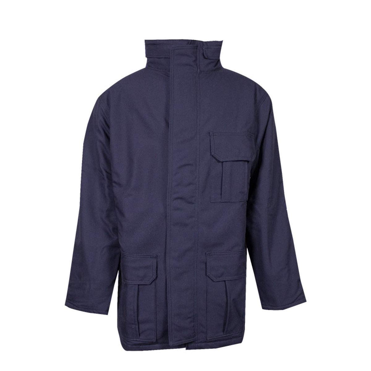 National Safety Apparel Large Navy UltraSoft Duck Flame Resistant Parka With Quilted Lining And Zipper Closure
