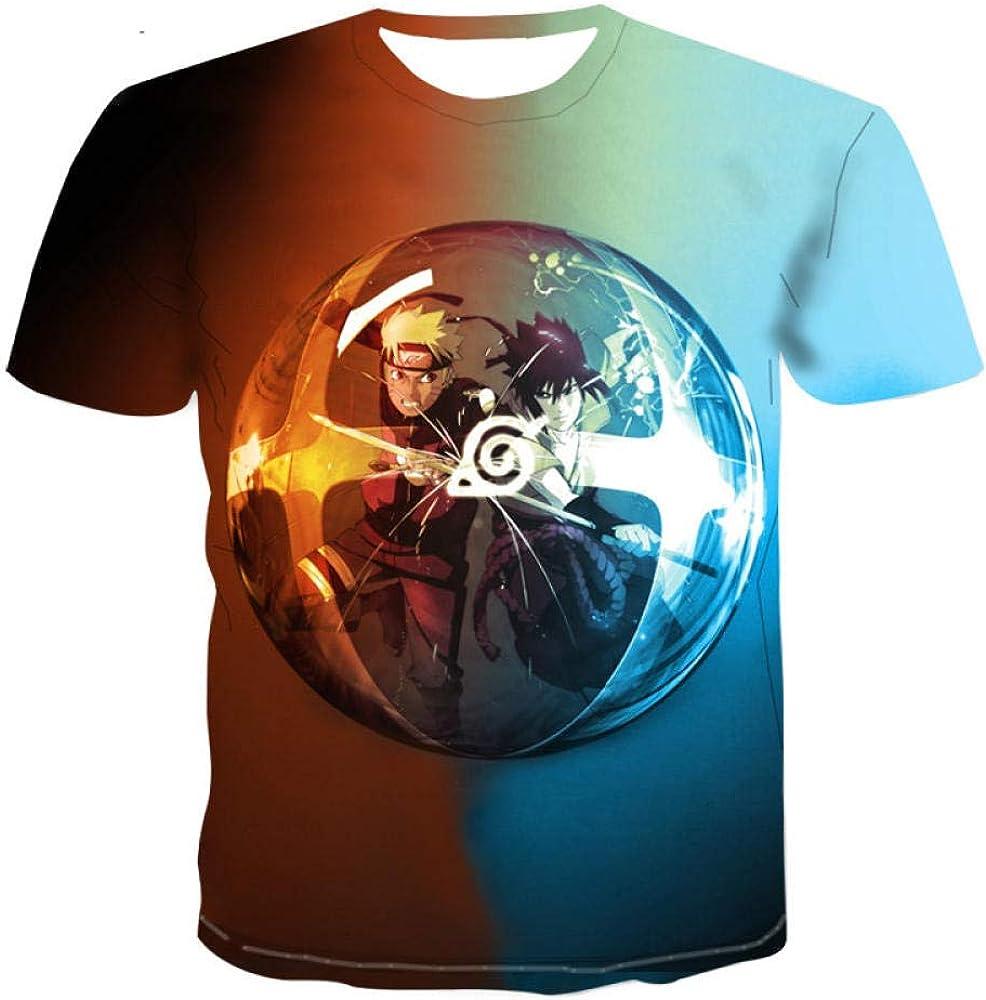 TSHIMEN Camisetas Hombre Naruto 2019 Hombres de la Marca Camiseta de Las Mujeres de Dibujos Animados de Anime 3D impresión Camiseta Hip-Hop Divertido Hombres Camisa Azul s: Amazon.es: Ropa y accesorios