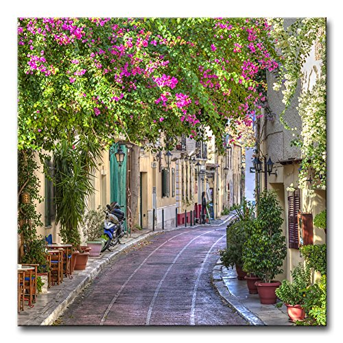 Wall Art Decor Poster Painting On Canvas Print Pictures Colorful Flowers Street Old Town Greek Island Greece Town Landscape Framed Picture for Home Decoration Living Room ()