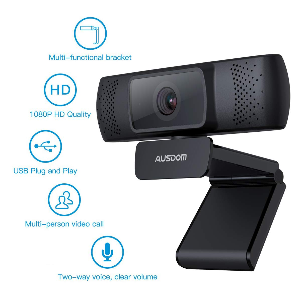 Ausdom Full HD 1080P Webcam for OBS Live, Video Calling and Recording Web Camera with Built-in Noise Reduction Microphone, PC or Laptop Camera for Mixer Twitch Skype Xsplit YouTube
