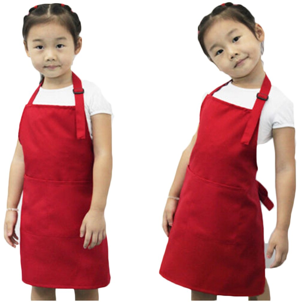 Kids Painting Baking Cooking Kitchen Playing Bib Apron Colorful Waterproof Poly Art Smock with 2 Pockets,Children Artist Apron & Chef Apron (Coffee) other