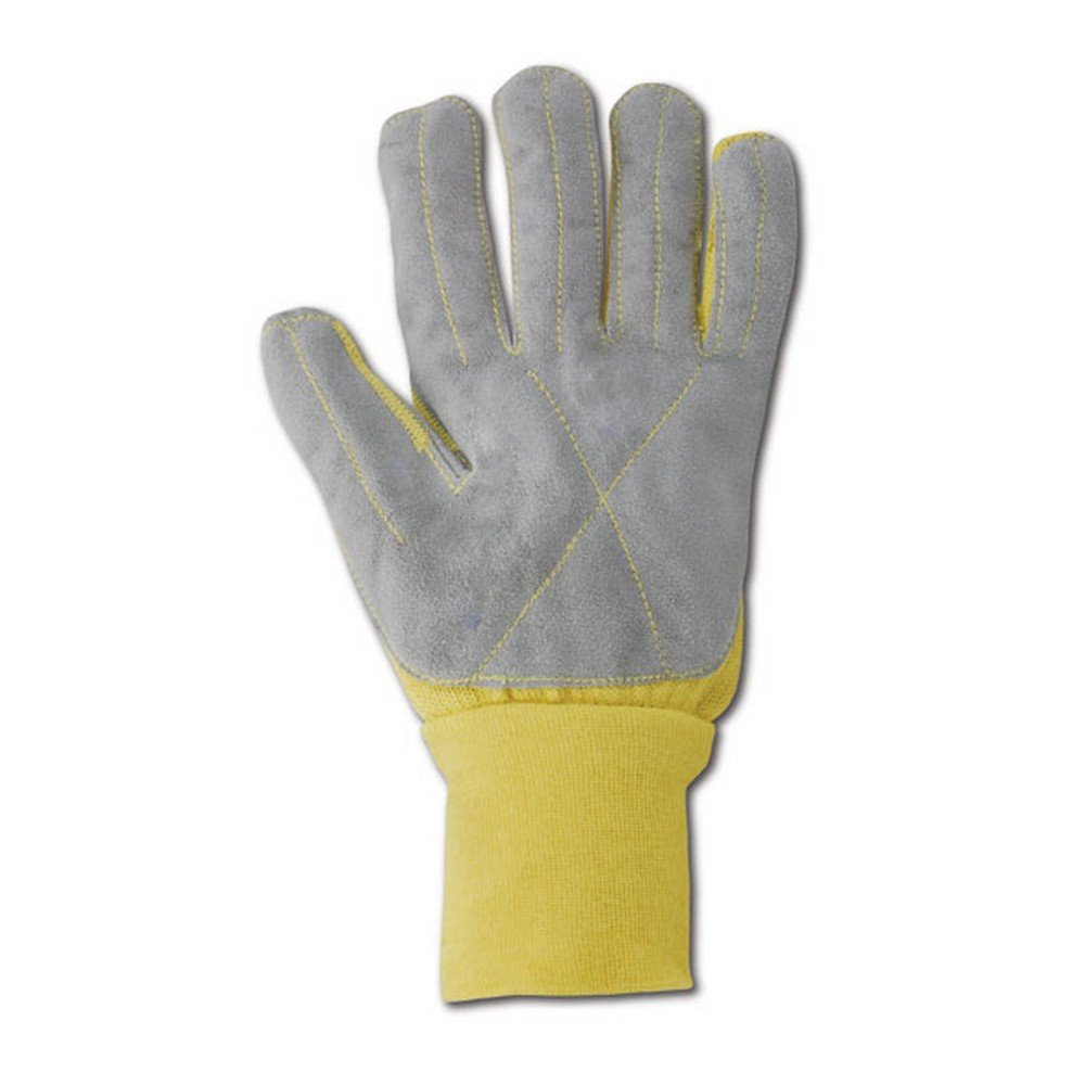 Magid Glove & Safety KV92WLEA-9 Magid Cut Master Leather Palm Kevlar Knit Terrycloth Glove, X-Large, Yellow , 9 (Pack of 12)
