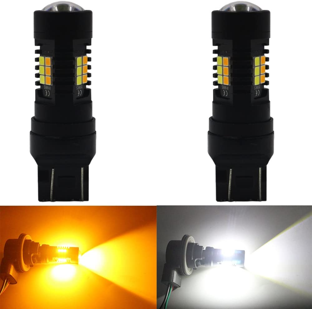 Xenon White for Daytime Running Light//Parking Light AMAZENAR 2-Pack 7443 7444NA White//Amber Switchback LED Bulb Super Bright Yellow for Turn Signal Blinkers 24-SMD with Projector Lens