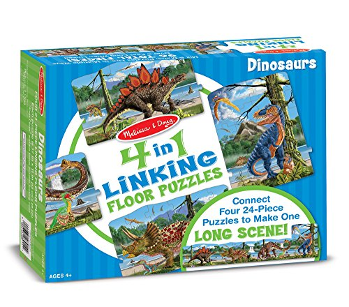 Melissa & Doug Dinosaur 4-in-1 Jumbo Linking Jigsaw Floor Puzzle (Easy-Clean Surface, Promotes Hand-Eye Coordination, 96 Pieces, 5 Feet Long)