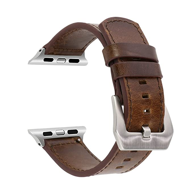 Amazon.com  SUNKONG for Apple Watch Band 42mm Leather Dark Brown ... b49cc7f14ece
