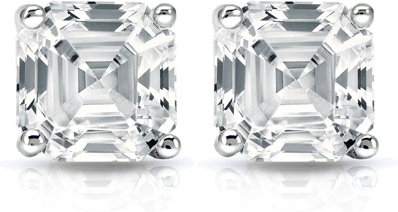 1.45 CT Asscher coupe solitaire Lab Clous D/'Oreilles 14K or Blanc Screwback percé