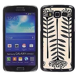 Be Good Phone Accessory // Dura Cáscara cubierta Protectora Caso Carcasa Funda de Protección para Samsung Galaxy Grand 2 SM-G7102 SM-G7105 // Art Blossom Black White Simplistic