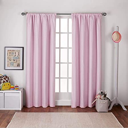 Exclusive Home Curtains Polka Dot Jacquard Blackout Window Curtain Panel Pair with Rod Pocket, 54×96, Bubble Gum Pink, 2 Piece