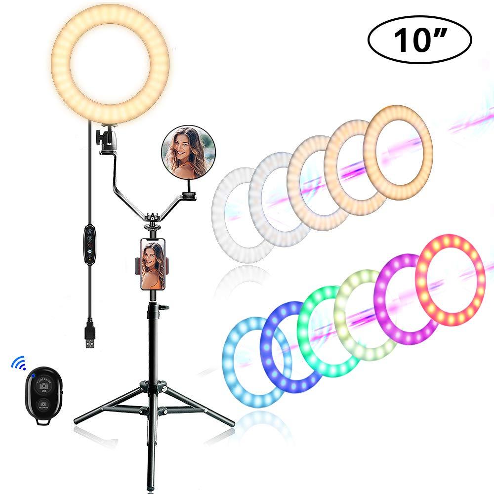 Anillo 25cm Luz Led Con Tripode Con 10 Colores Rgb