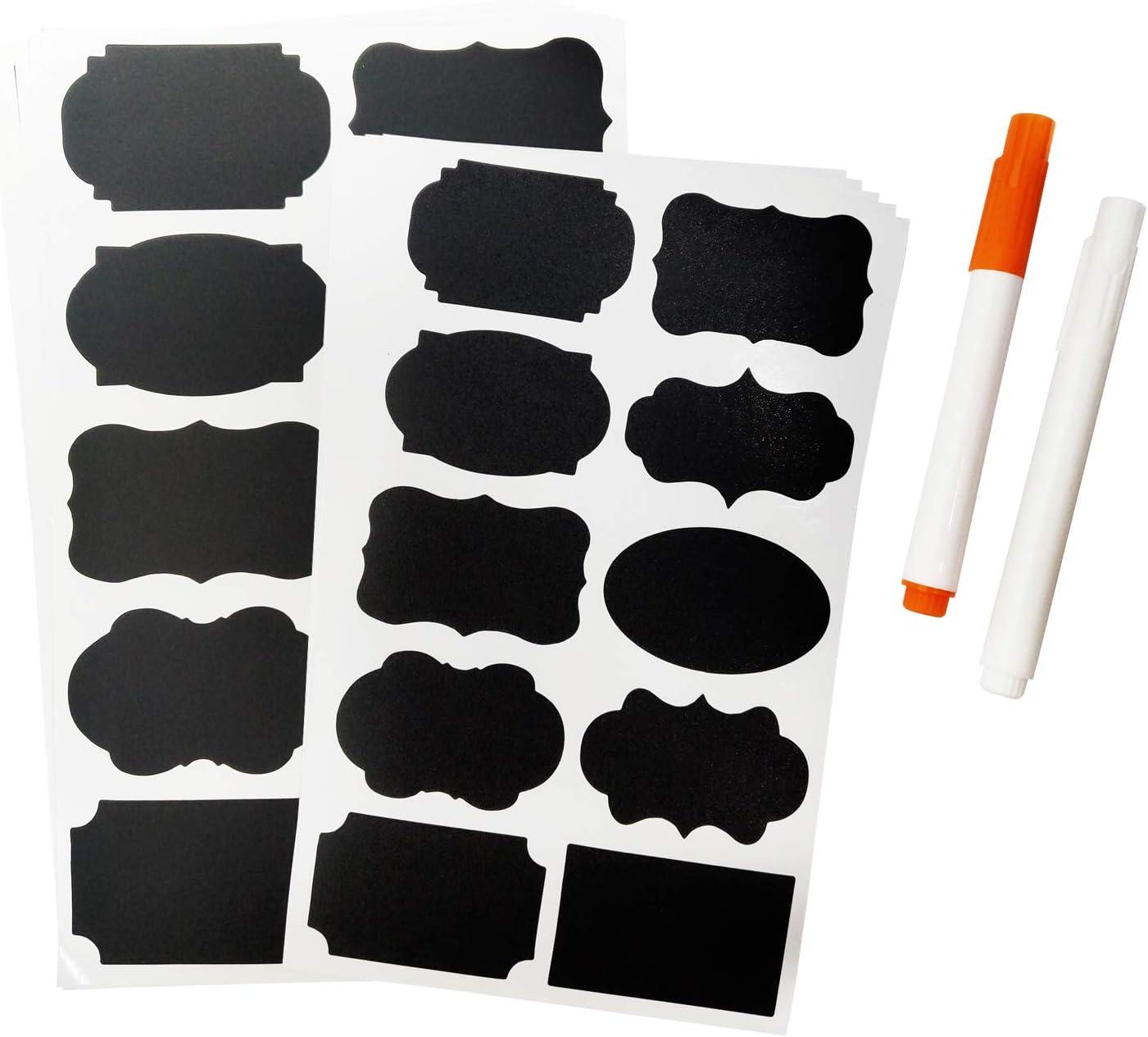 100 PCS Chalkboard Labels with 2 PCS of Free Erasable Chalk Pen, Dishwasher Safe Chalk Board Mason Jar Labels, Reusable and Removable Waterproof Blackboard Sticker Label, 2 Size