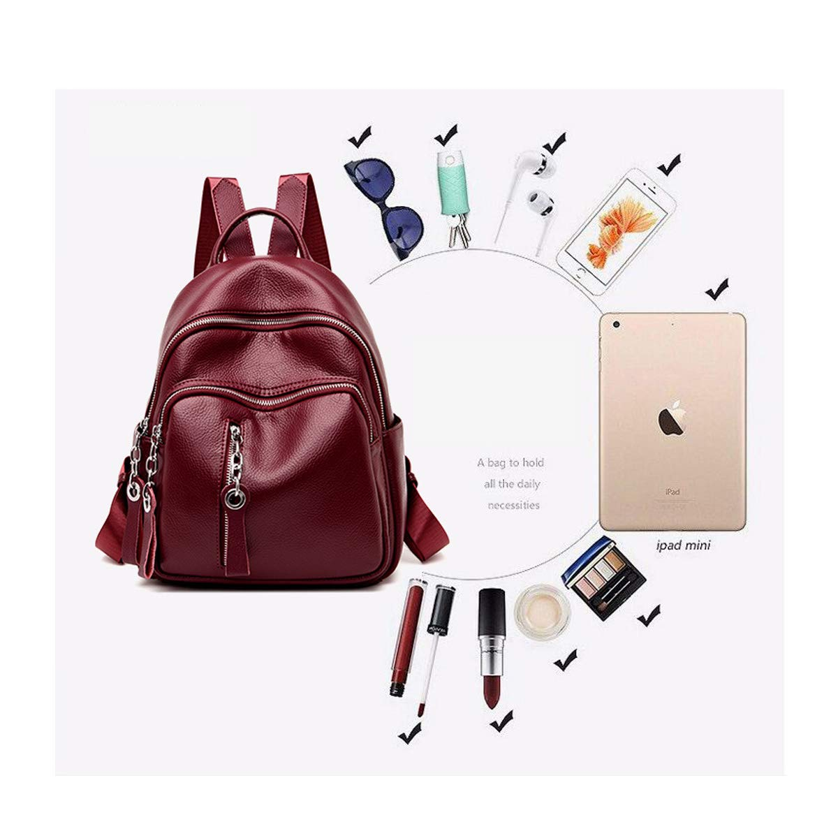 PU Leather Haoyushangmao Girls Multi-Purpose Backpack for Daily Travel//Outdoor//Travel//School//Work//Fashion//Leisure Five Colors Stylish and Practical. Color : Blue, Size : 25cm31cm12cm