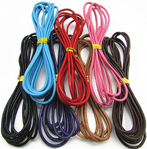 (2.0mm Mixcolor Genuine Leather Round Cord for Necklace Bracelet Beading Jewelry Making(7Color x 2M)))
