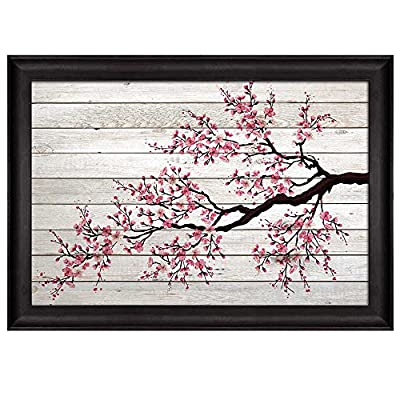 Delightful Design, Illustration of a Cherry Blossom Branch on White Wooden Panels Nature Framed Art, Made With Love