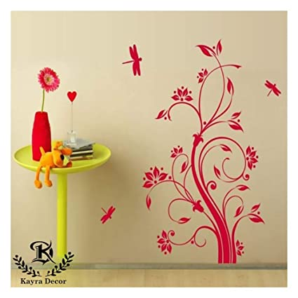 Kayra Decor Dragonfly And Flowers Reusable Diy Wall Stencil Painting