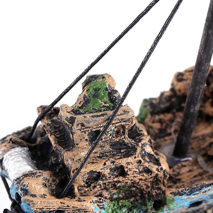 SLOME Adorno de Barco de Resina para Acuario, decoración de pecera, Barco hundido, Adorno de Acuario para Tanques de Agua Dulce y Salada: Amazon.es: ...