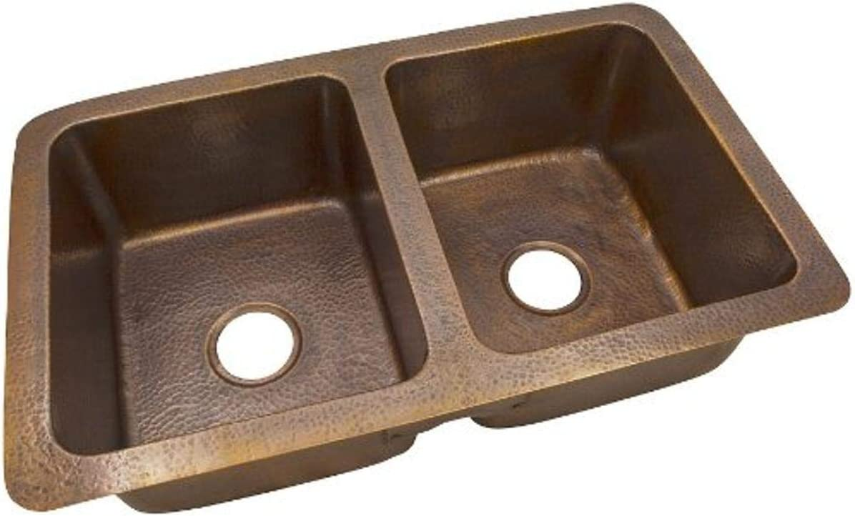 The Copper Factory CF164AN Solid Hand Hammered Copper 34-Inch by 21-Inch Large Double Bowl Drop-In//Undermount Sink Antique Copper