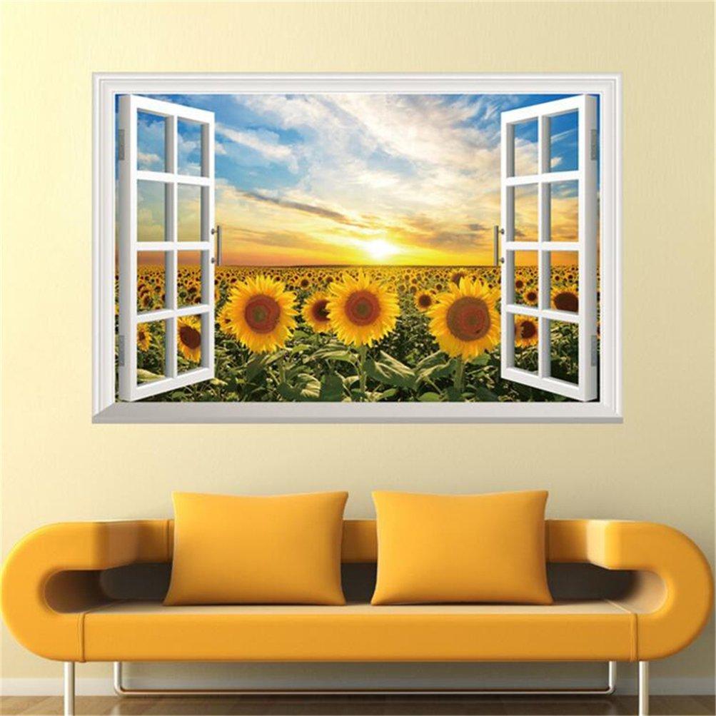 Amazon.com: 3D Sunflower Fake Windows Wall Stickers Landscape Faux ...