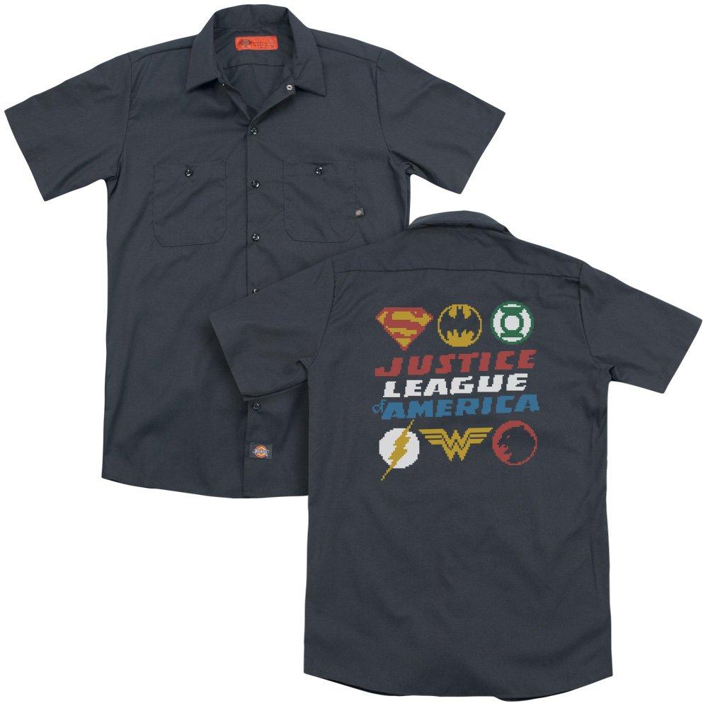 Jla Pixel Logos Adult Work Shirt
