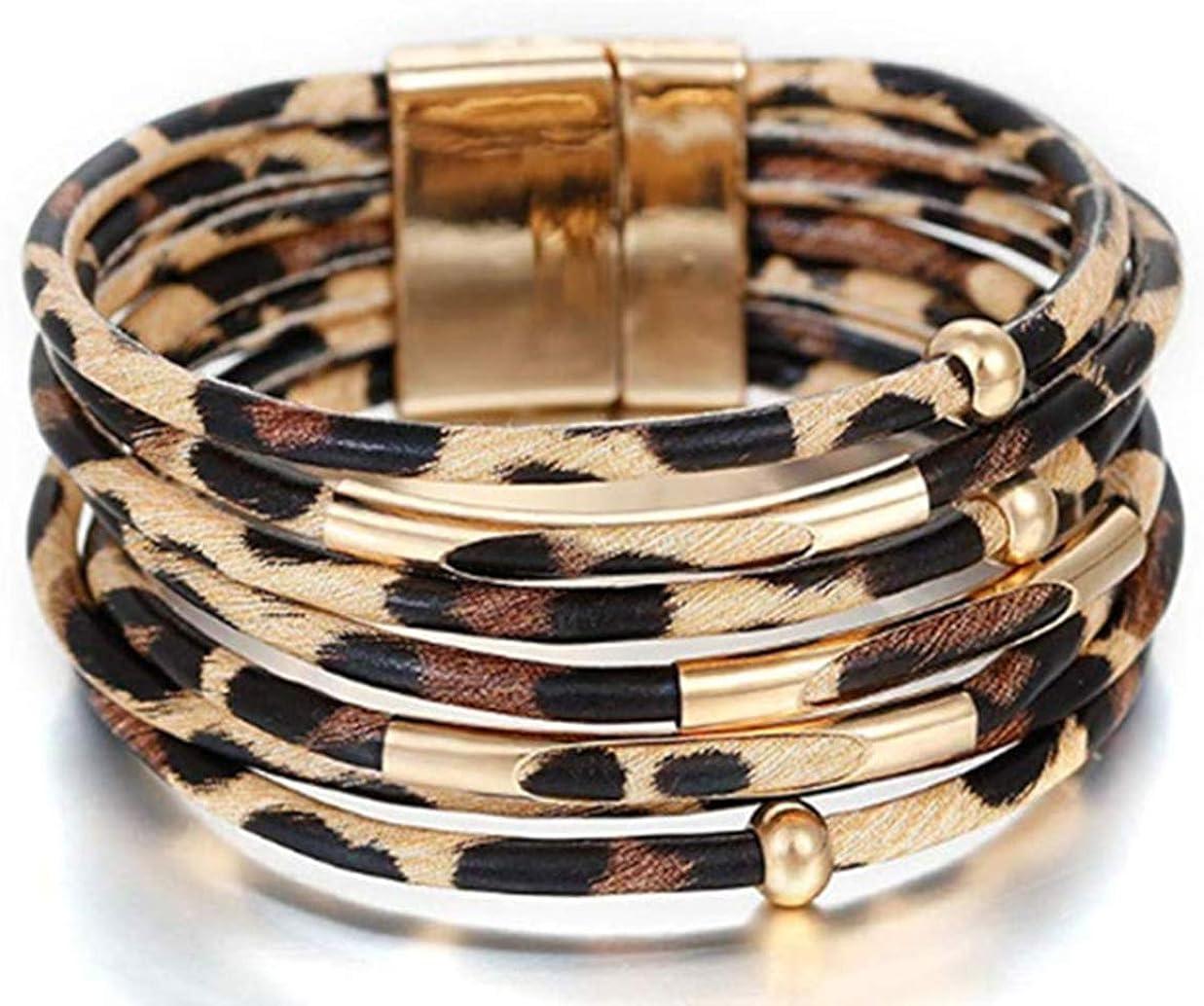 Multicouche en cuir noir Wrap Bracelet Aimant Fermoir Bracelet Chaîne Perles Bracelet