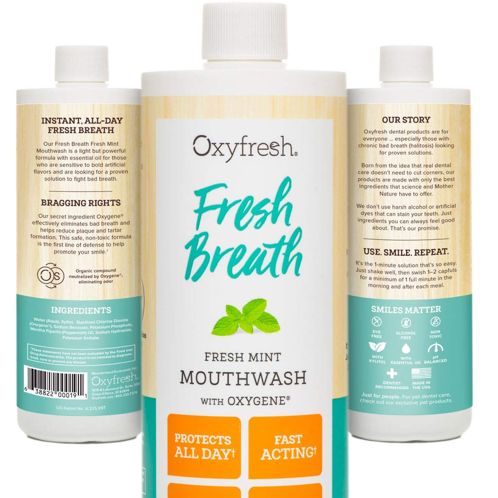 Oxyfresh Fresh Breath Fresh Mint Mouthwash – Dentist Recommended for Long-Lasting Fresh Breath and Healthy Gums – Alcohol-Free – Fluoride Free - 1 Bottle 16 oz.