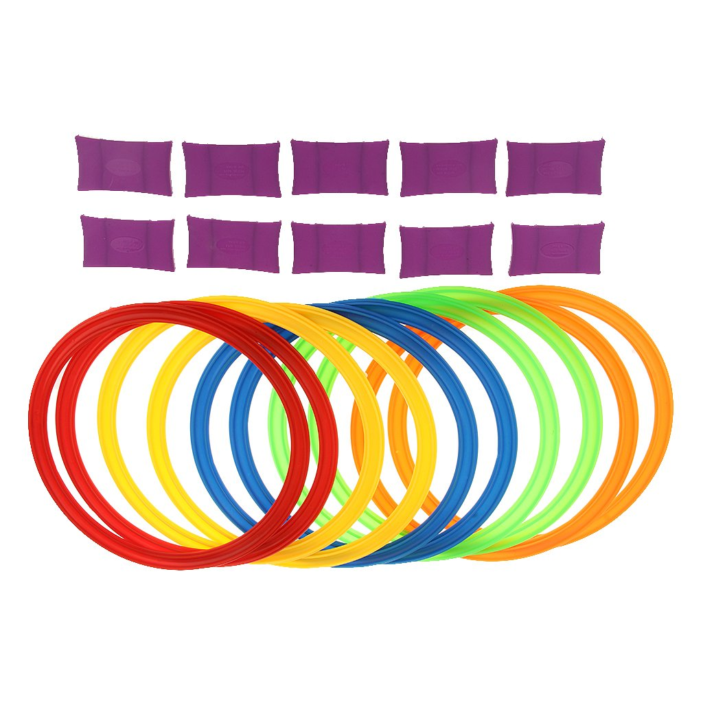 MonkeyJack 11.6in Diameter 10 Rings & 10 Ring Clips Twister Hopscotch Active Indoor Play Game Complete Set with Box for Children Kids Play for Fun