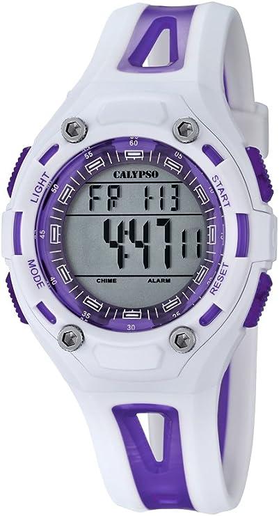 Calypso–Reloj Digital Unisex con LCD Pantalla Digital Dial y Correa de plástico Color Blanco K5666/2
