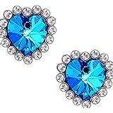TR.OD Heart of Ocean Blue Love Shape Rhinestore Crystal Gem Heart Ear Piercing Pin Stud Earrings