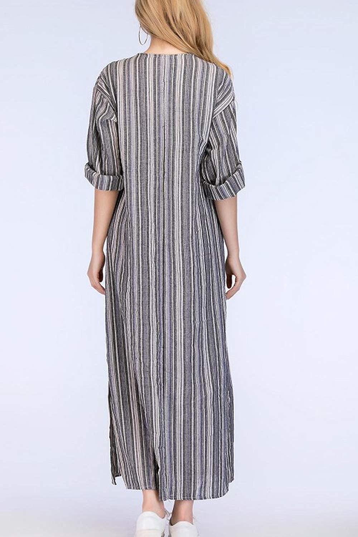 365c76a597d Simgahuva Womens Linen Maxi Dress Cotton Stripes Shift Dresses Plus Size  with Pocket at Amazon Women s Clothing store