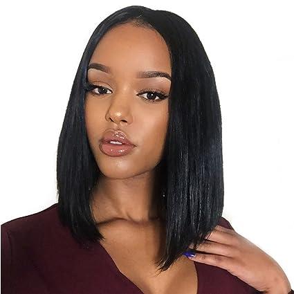100% Real Pelo Humano sin procesar Lace Front Peluca para las mujeres negras media parte