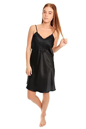 Womens Satin /& Deep Lace Long or Short Chemise Negligee Nightdress Nightie 10-28