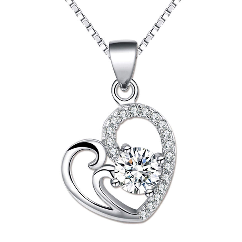 Chaomingzhen Sterling Silver Half Heart Clear Cubic Zirconia Pendant Enhancer Women Girls Rhodium Plated by Chaomingzhen