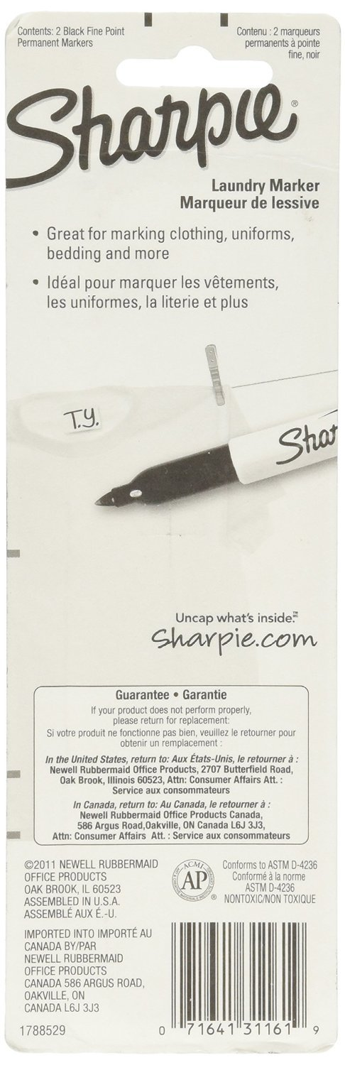 Sharpie Rub-A-Dub Fine Point Laundry Marker, Black, 2 Count (Pack of 6) 12 Markers Total by Sharpie (Image #2)