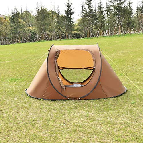 CWY 2-3 Persons Waterproof Camping Tent Brown Only by eight24hours