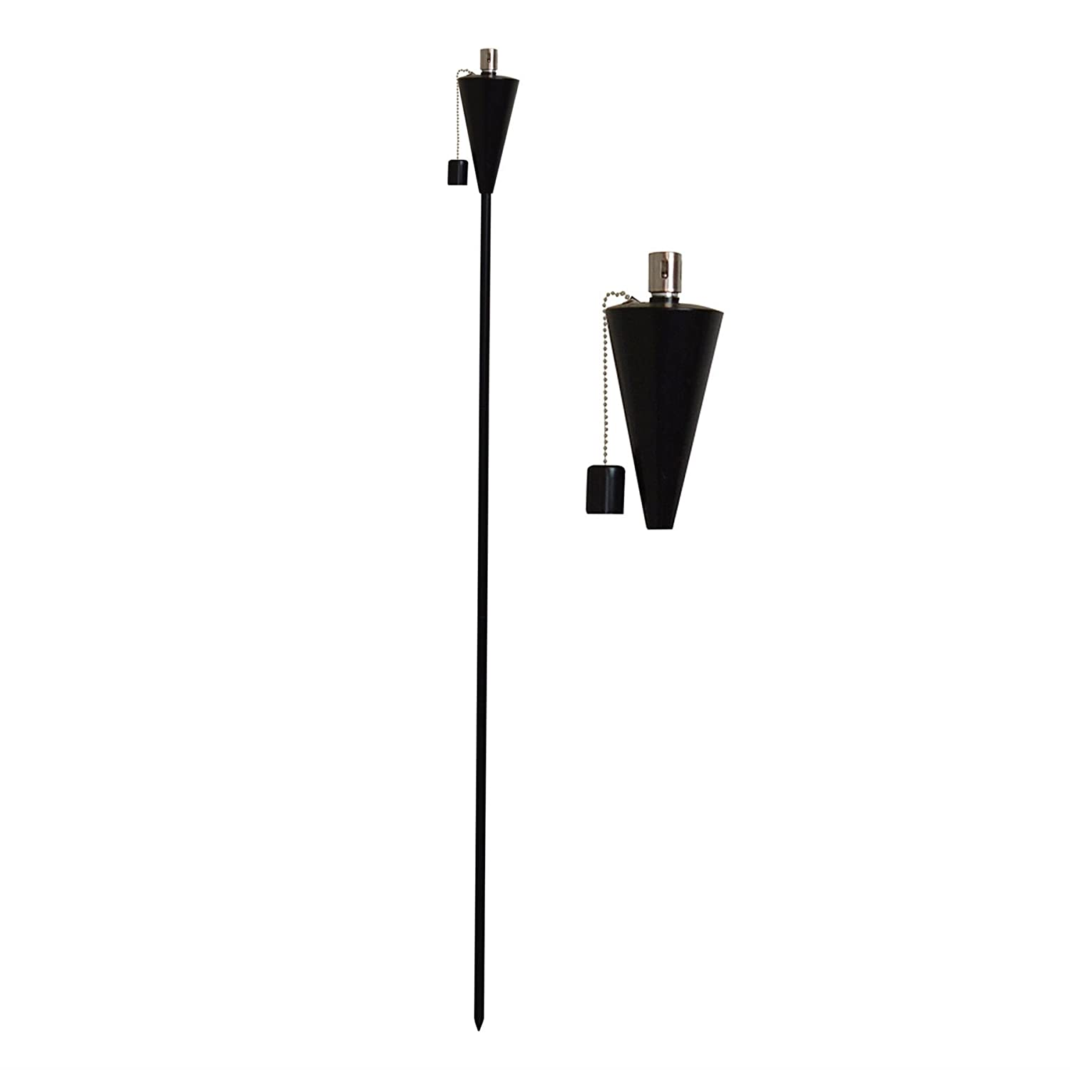 Garden Fire Torch - Oil / Paraffin Black Lantern - 1460mm Triangle Design Harbour Housewares