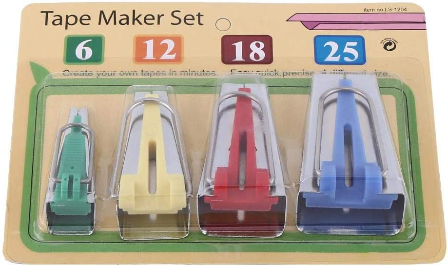 HEEPDD Bias Tape Makers Fabric Bias Tape Maker Tool Kit DIY Sewing Binding Tool 6mm 12mm 18mm 25mm