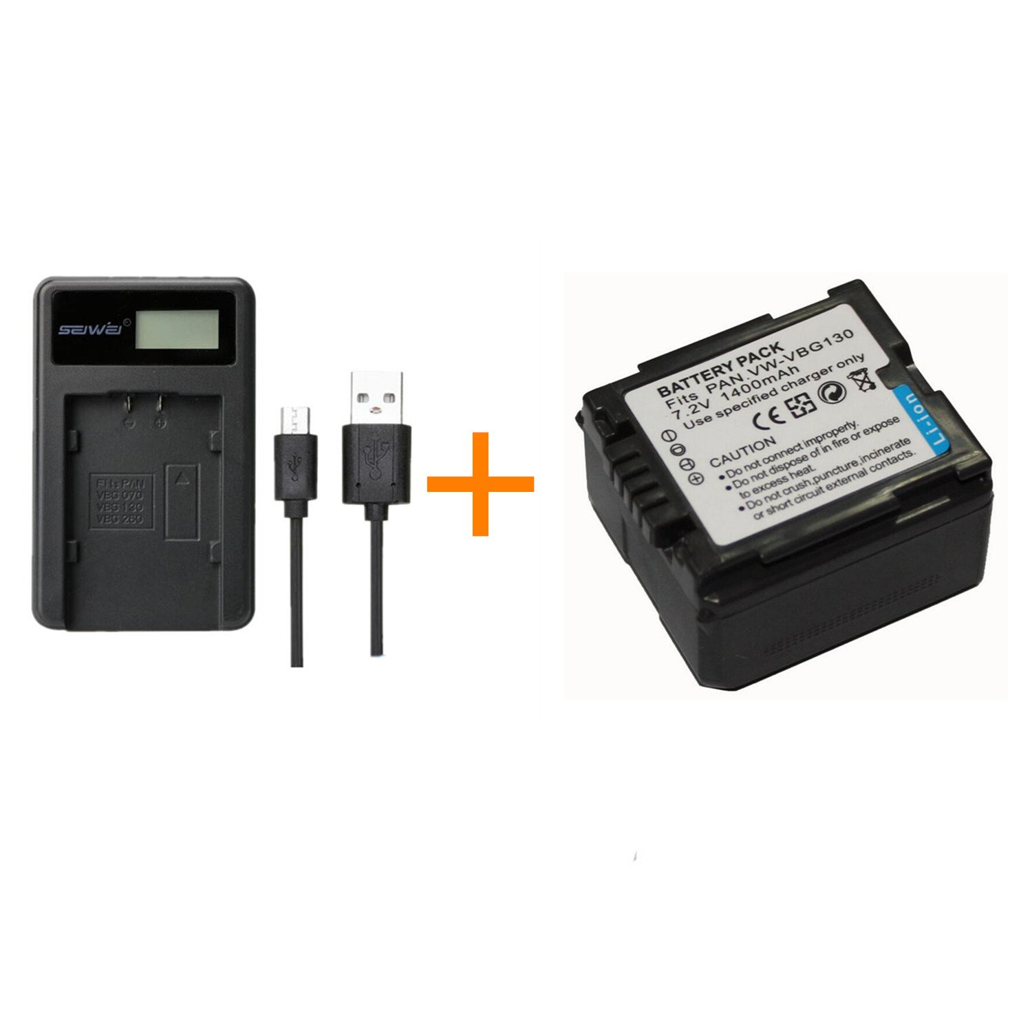 2 Pc 1400mAh VW-VBG130 VWVBG130 VW VBG130 Rechargeable Battery with Battery Charger for Panasonic SDR-H80 HDC-DX5 HDC-TM20 (2 pcs Battery with Charger) FUGASUN CBAVW-VBG130