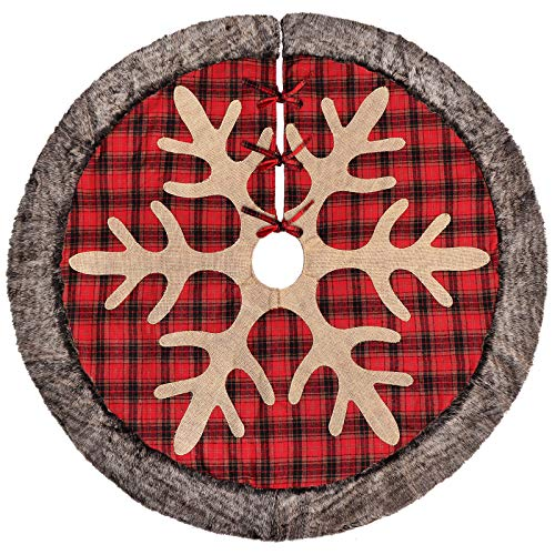 Tree Stockings Skirts Christmas (Ivenf 48 inch Luxury Burlap Plaid Snowflake Christmas Tree Skirt with Thick Faux Fur Edge, Rustic Xmas Tree Holiday Decorations)