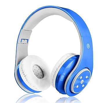 Auriculares inalámbricos, BG&MF para niños y Adultos, Recargables, Plegables Sobre los oídos,