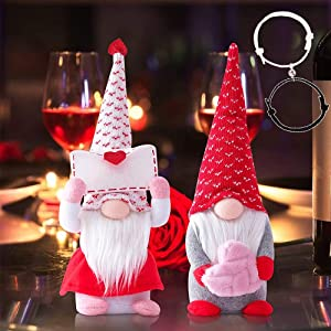 2PCS Valentines Day Decor Gnomes Plush Decorations Attached with Magnetic Couples Bracelets, Swedish Plush Dolls Toy Valentine's Gifts for Women/Men, Valentines Day Decorations Ornaments for The Home