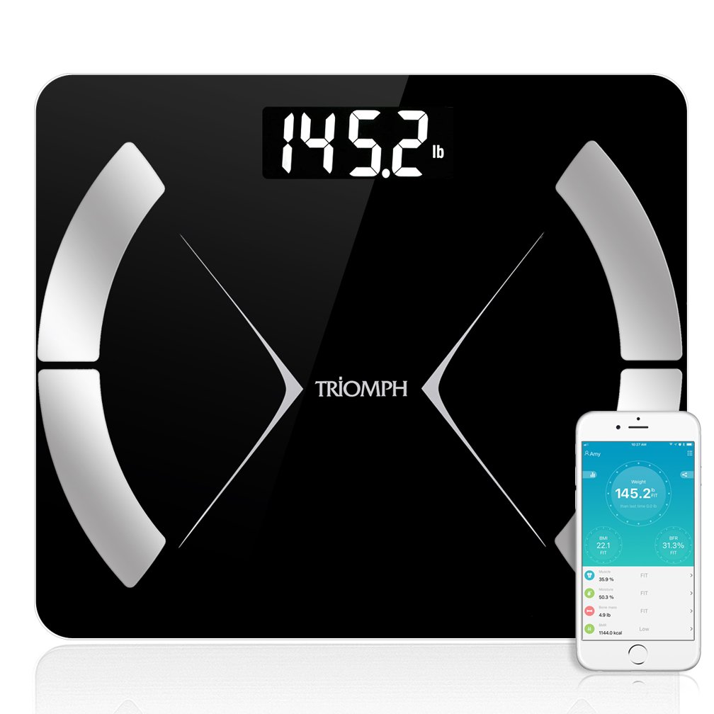 Triomph Bluetooth Smart Body Fat Scale with iOS Android App – Digital Body Composition Analyzer Measures Body Weight, Body Fat, Water, Muscle Mass, BMR, Bone Mass and Visceral Fat, 400 lbs, Black