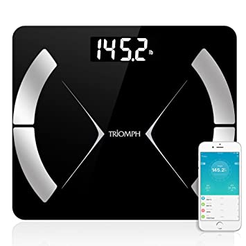 Triomph Bluetooth Smart Body Fat Scale with iOS/Android App - Digital Body  Composition Analyzer