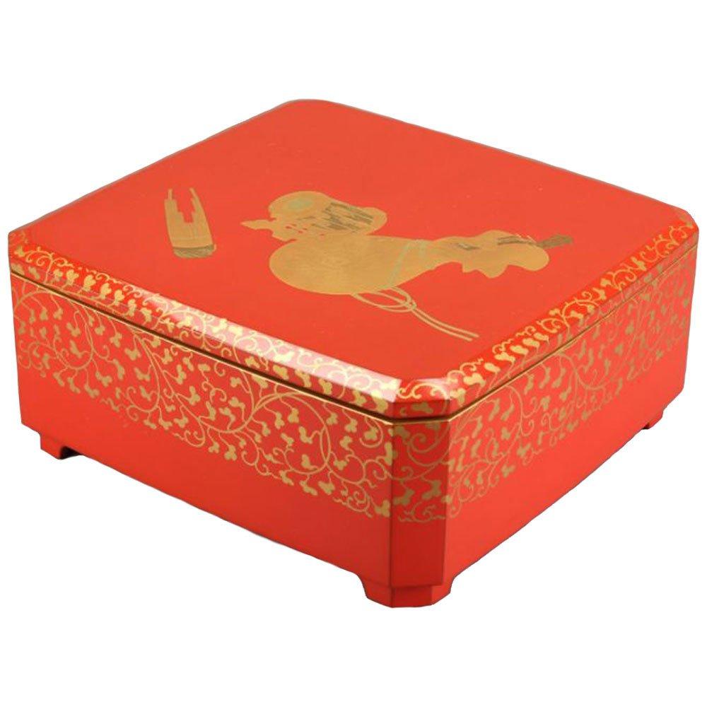 (アンティーク) 菓子器 盛器 和楽器文様 蒔絵 重箱 菓子鉢 漆器 木製 B07D21X3WZ